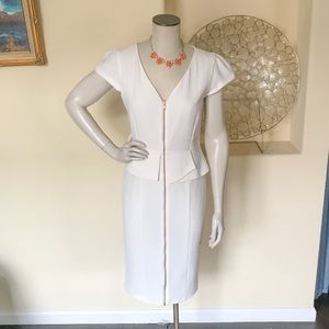 Cream Peplum Midi Dress